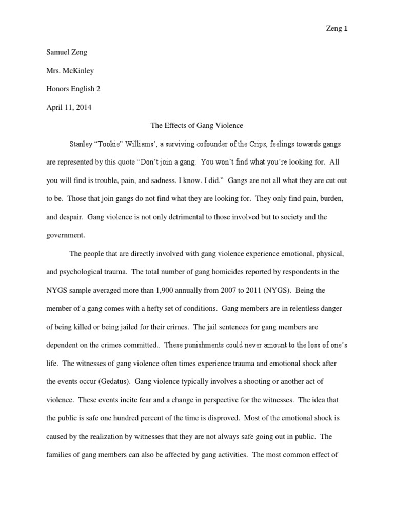 Essay About Learning English Language The Effects Of Gang Violence Essay What Is An Essay Thesis also Essay Style Paper Gang Violence Essay  Mistyhamel Essays Topics In English