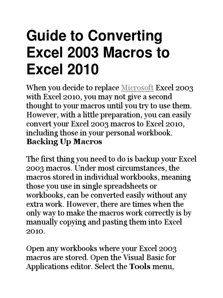 Convert Excel 2003 Macros to Excel 2010   Microsoft Outlook ...