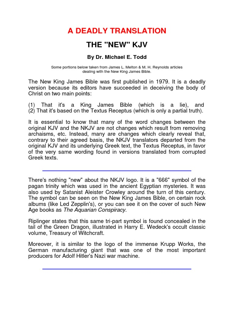 A Deadly Translation   New King James Version   Book Of Genesis