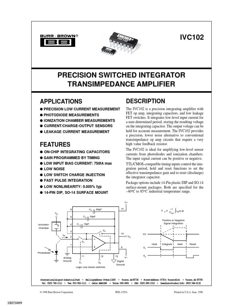 Bb Ivc Amp Amplifier Operational Current Application Need Very Low Input Bias And