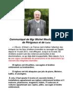 Communique de Mgr Michel Mouisse