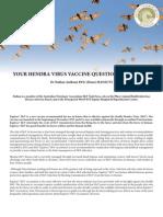 Hendra Virus Vaccine Q&as Updated 24012013