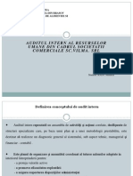 Auditul Intern Al Resurselor Umane Din Cadrul Societatii Comerciale S.C.vilmA.srl