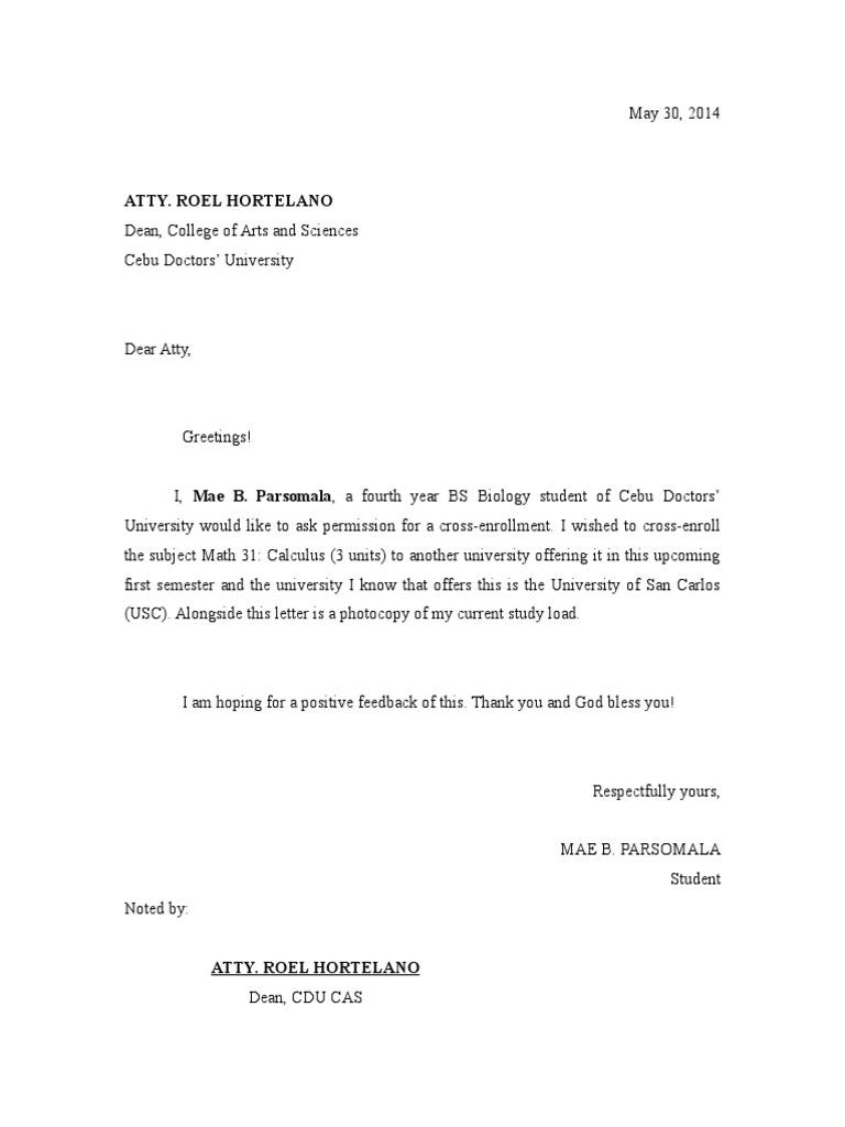 Letter for cross enrollment 1536729846v1 spiritdancerdesigns Image collections