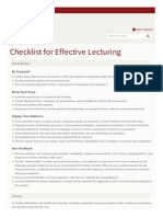 Teaching Resources Teaching Strategies Checklist Effective Lecturing