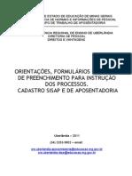 21 08 2011 Manual Orientacoes Formularios Cadastro Sisap e Aposentadoria
