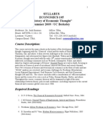 "SYLLABUS ECONOMICS 105 ""History of Economic Thought"" Summer 2009 /"