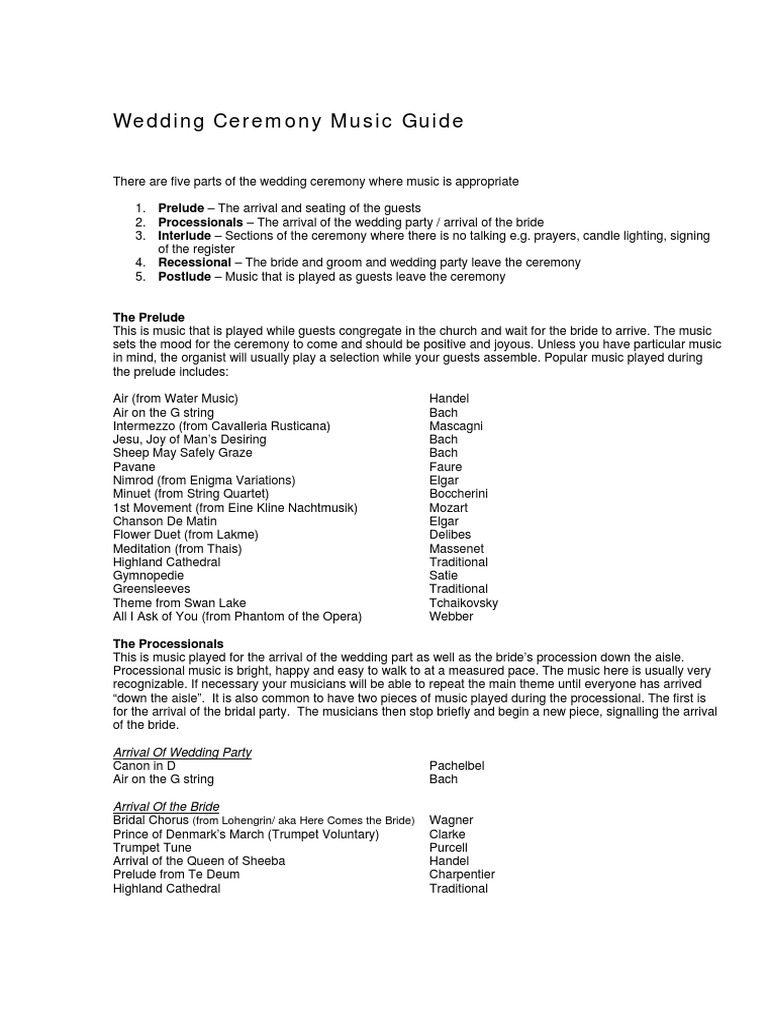 Wedding Ceremony Music Guide | Wedding | George Frideric Handel