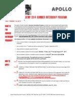 2014 summer internship program application