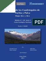 Geología de Los Cuadrangulos de Pachía y Palca Hojas 36-V y 36-x, Esc 1 50000, 2011