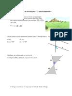 Ficha Matemática 7ºano Paralelogramas, Funções e Triângulos