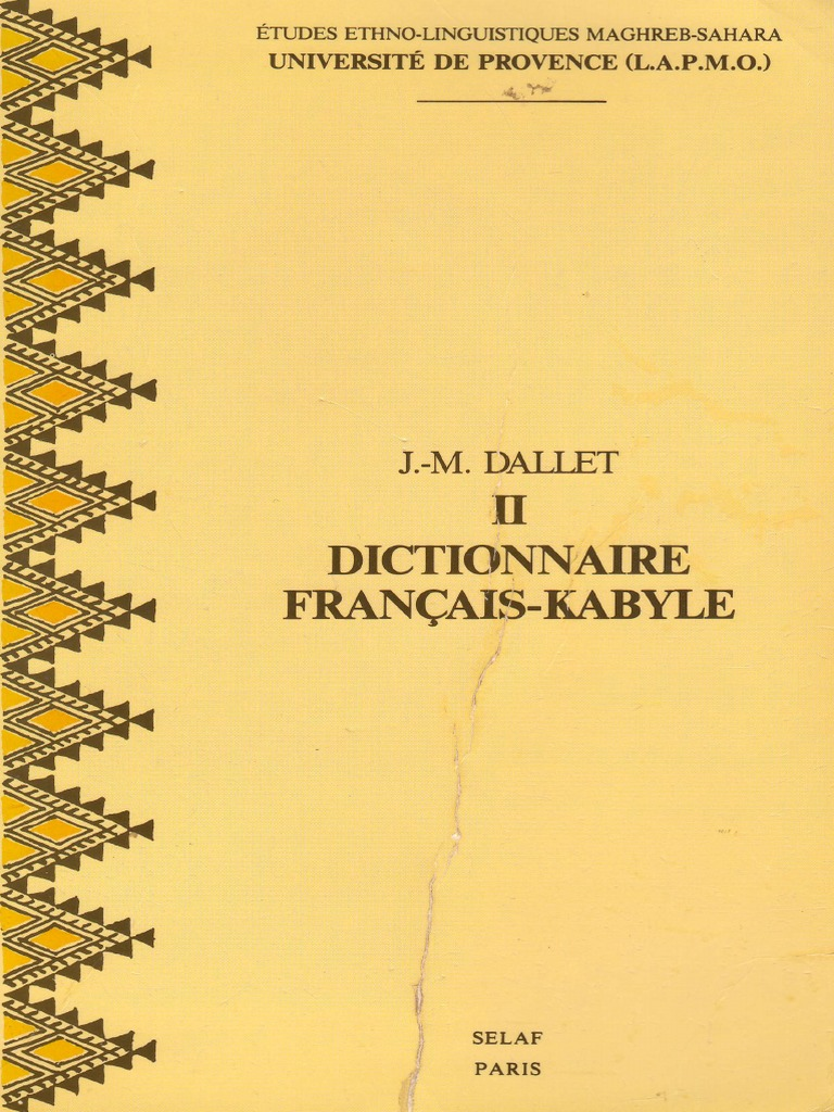 DALLET Dictionnaire Français-Kabyle   Grammatical Number   Verb