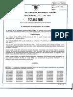 DECRETO 2917 de 2011 Reducción y Aumento Aranceles