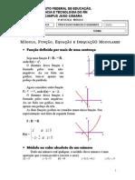 Nona apostila - Módulo, Função, Equação e Inequação (15+2)