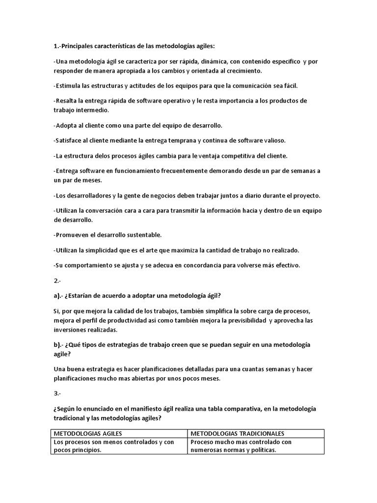 Principales Características de Las Metodologías Agiles