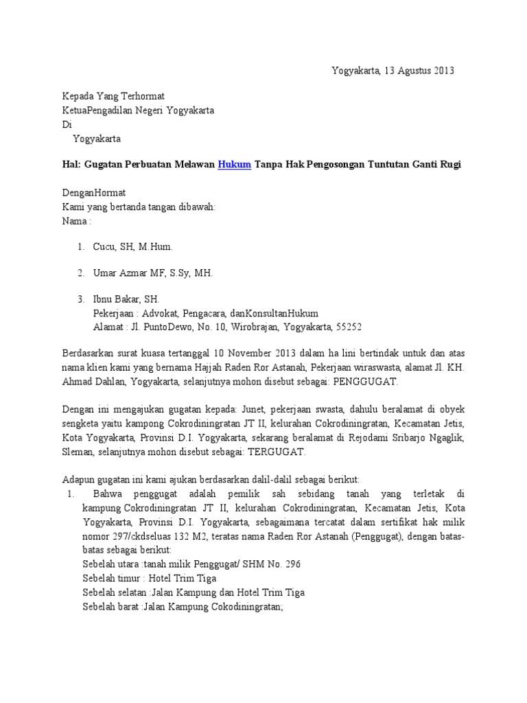 Contoh Surat Kuasa Gugatan Perdata Perbuatan Melawan Hukum Kumpulan Contoh Surat Dan Soal Terlengkap
