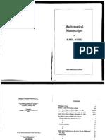 Mathematical Manuscripts of Karl Marx 1881