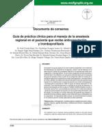 Guía de Práctica Clínica Para El Manejo de La Anestesia Regional en El Paciente Que Recibe Anticoagulación y Tromboprofilaxis