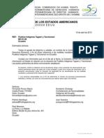 Carta CIDH Taromenane