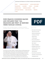 "Pope Francis Condemns Racism and Declares That ""All Religions Are True"" at Historic Third Vatican Council _ Diversity Chronicle"