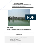Historical and Environmental Study of Rani Pokhari