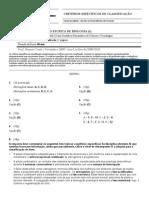 Critérios Específicos de Classificação TAE 1 BIO12A