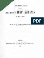 Recherches sur les monnaies mérovingiennes de Touraine / par le Vte de Ponton d'Amécourt
