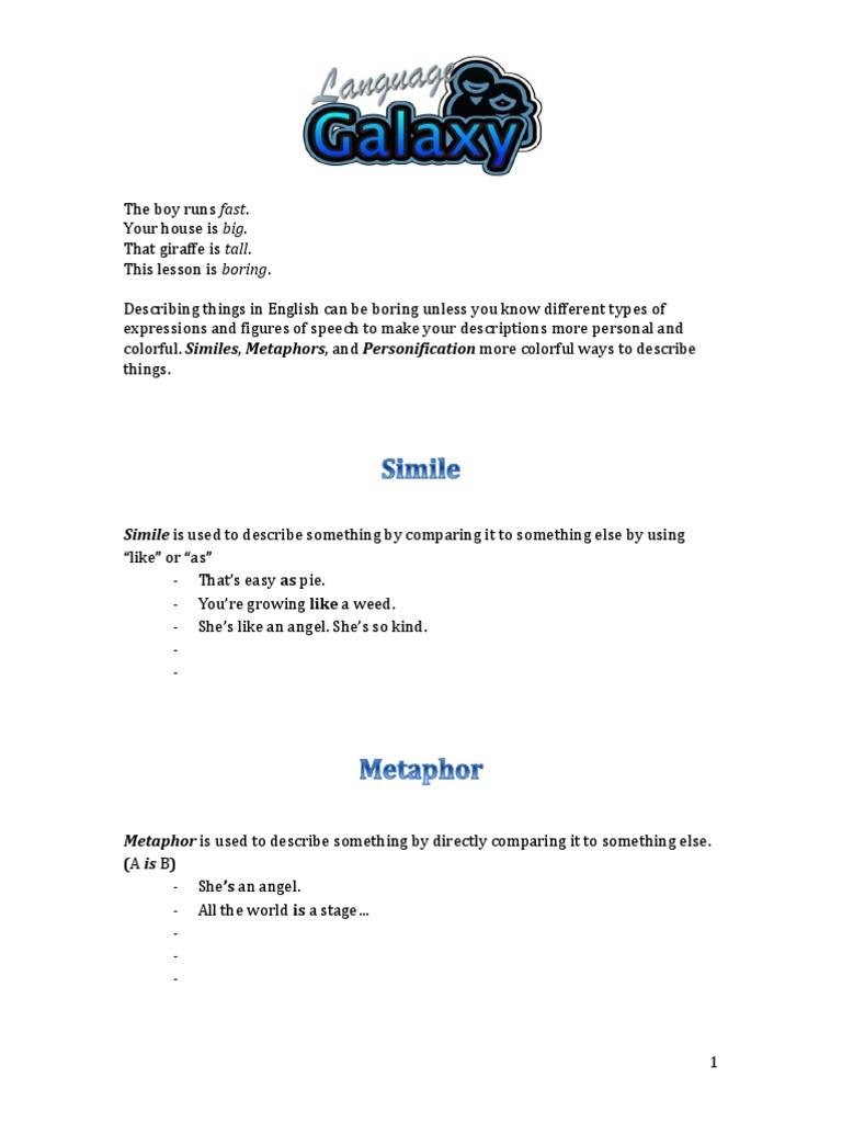 simile metaphor personification worksheet – Simile Worksheets Pdf
