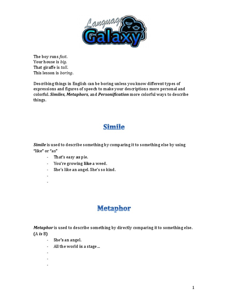 Simile Metaphor Personification Worksheet Anthropomorphism Metaphor