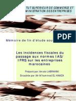 Les Incidences Fiscales Du Passage Aux Normes IASIFRS Sur Les Entreprises Marocaines