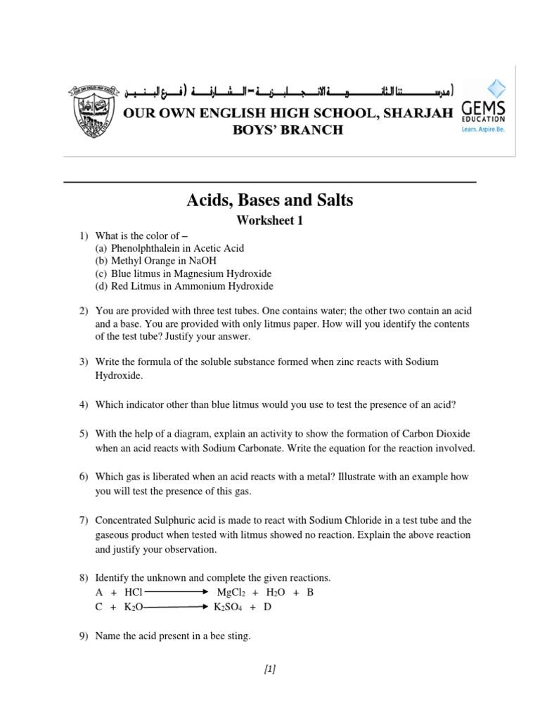 acids bases and salts worksheet 1 | Acid | Sodium Hydroxide
