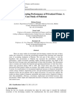 Financial and Operating Performance of Privatized Firms a Case Study of Pakistan