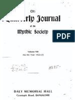 Quarterly Journal of the Mythic Society Volume 13, 1923
