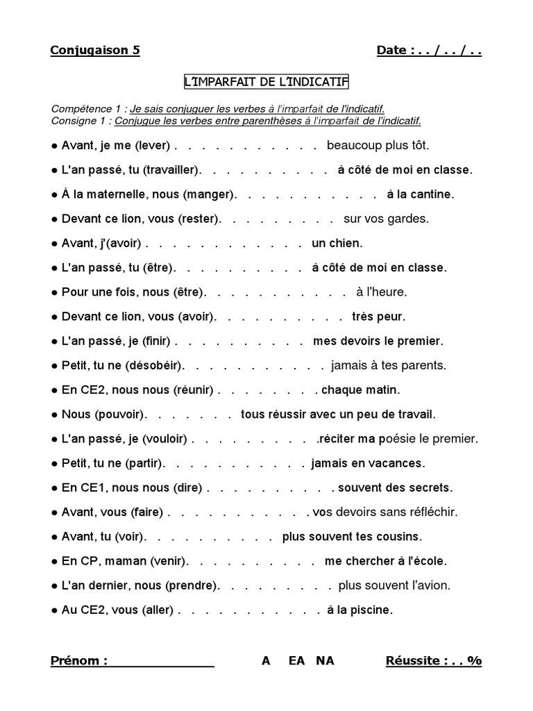 05 Imparfait Indicatif Docx Philologie Arts Du Langage Et Discipline