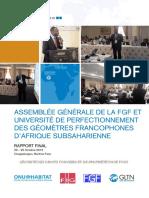 Assemblée Générale de La FGF Et Université de Perfectionnement Des Géomètres Francophones d'Afrique Subsaharienne