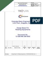 Design Basis for Rotating Equipments
