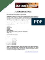 Printable Tablature Explanation Sheet