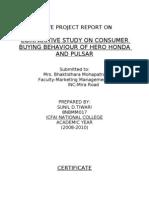 Comparitive Study on Consumer Buying Behaviour of Hero Honda and Pulsar
