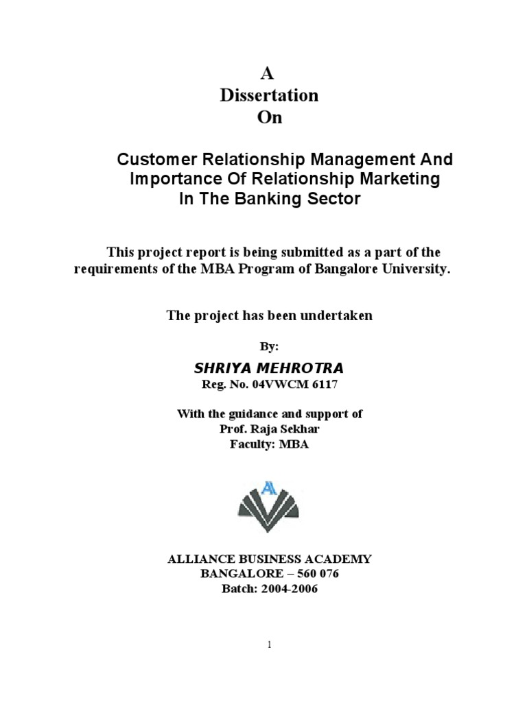 Phd thesis on crm in banking sector