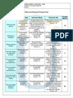 Rubrica Evaluacion Proyecto Final 2014 I