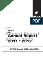 Uttam Galva Annual Report 2012