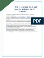 La Seguridad y La Salud en El Uso de Productos Químicos en El Trabajo