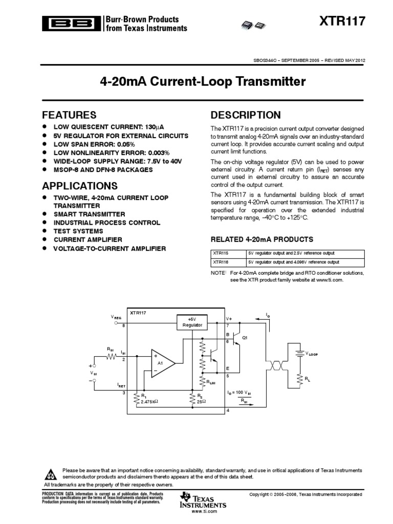 Xtr117 Diode Electronic Circuits Current Loop Wiring Diagram