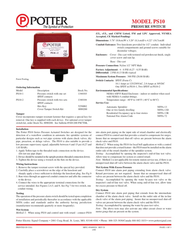 Potter Tamper Switch Wiring Diagram 35 Images Automatic Sprinkler System Document Fire 1509172098 At