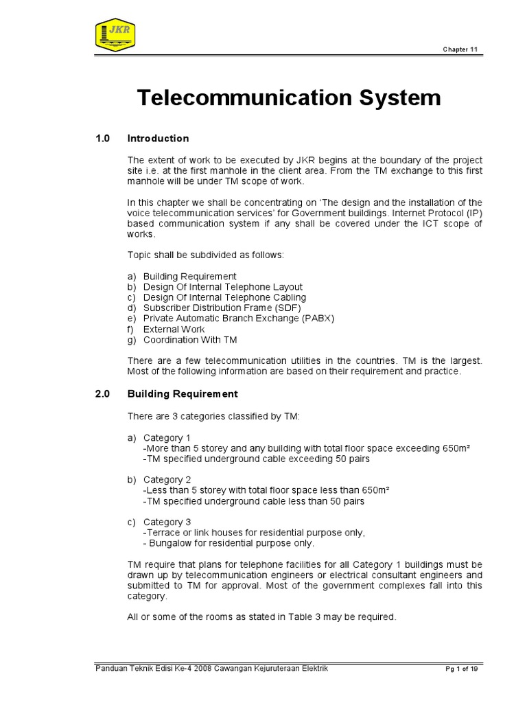 Jkr Guide To Telecommunication System Tel Cable Wiring Diagram Electrical