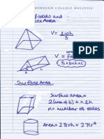 volumes of solids and surface areas