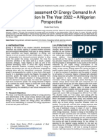 A Quantified Assessment of Energy Demand in a Developing Nation in the Year 2022 a Nigerian Perspective
