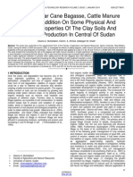Effect of Sugar Cane Bagasse Cattle Manure and Sand Addition on Some Physical and Chemical Properties of the Clay Soils and Sunflower Production in Central of Sudan