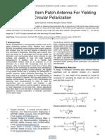 Symmetric Pattern Patch Antenna for Yielding Circular Polarization