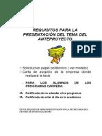 Formato Anteproyecto y Requisitos